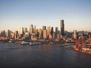 Aerial View of Elliott Bay and Downtown Seattle, Washington, Usa by Greg Probst