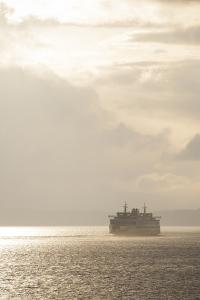 Ferry Boats Crossing Elliott Bay from Seattle, Washington by Greg Probst