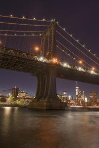 Manhattan Bridge and skyline, Brooklyn Bridge Park, New York City, New York by Greg Probst