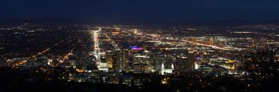 A Wide View Of Salt Lake City At Night With The Capital And Mormon Cathedral In The Foreground by Greg Winston