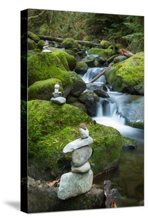 Stone Cairns Near a Stream in the Columbia River Gorge National Scenic Area