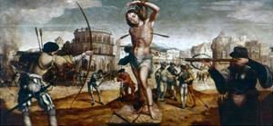 The Martyrdom of St Sebastian, 16th Century by Gregorio Lopez