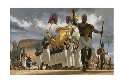 King Taharqa Leads His Queens Through a Crowd During a Festival by Gregory Manchess