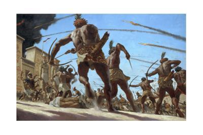 Nubian Troops Storm the Walled Capital of Memphis with Flaming Arrows by Gregory Manchess