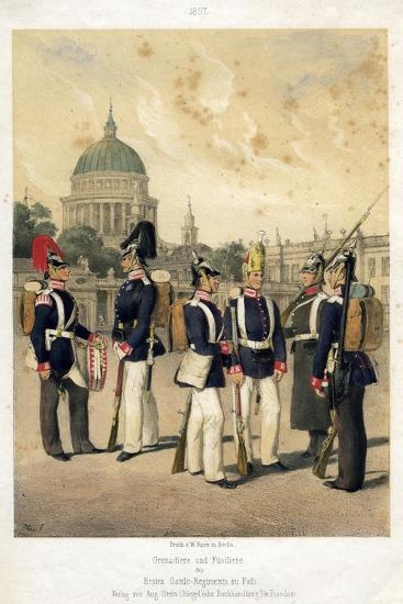 Grenadiers and Fusiliers of the Prussian Army, 1857-W Korn-Giclee Print