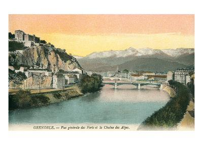 Grenoble, France, with View of Alps--Art Print