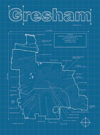 Gresham Artistic Blueprint Map-Christopher Estes-Art Print