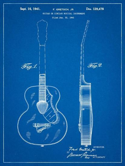 Gretsch 6022 Rancher Guitar Patent-Cole Borders-Art Print