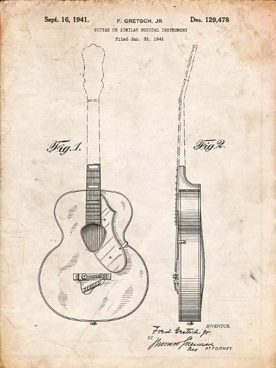 Gretsch 6022 Rancher Guitar Patent-Cole Borders-Art Print