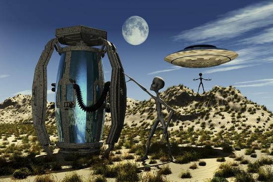 Grey Aliens Tending to a Storage Container Used to Transport Specimens-Stocktrek Images-Art Print