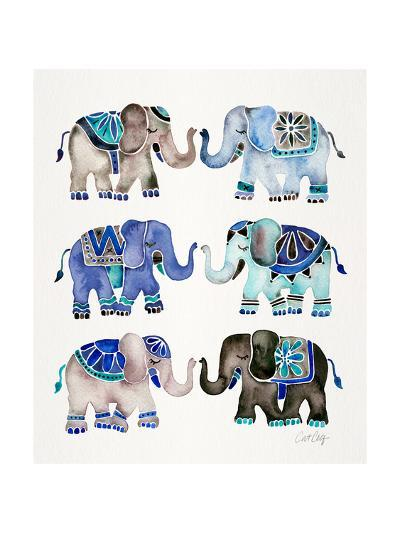 Grey and Blue Elephants-Cat Coquillette-Giclee Print