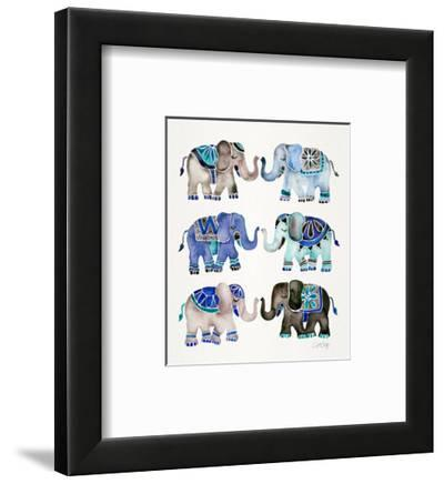 Grey and Blue Elephants-Cat Coquillette-Framed Giclee Print