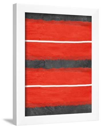 Grey and Red Abstract 3-NaxArt-Framed Art Print
