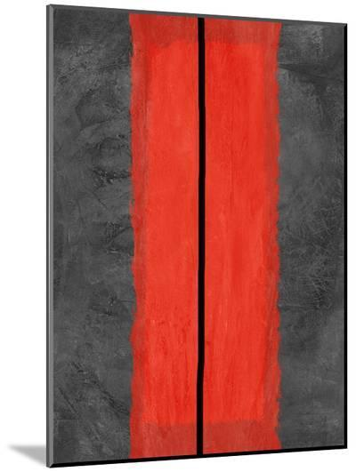 Grey and Red Abstract 5-NaxArt-Mounted Print