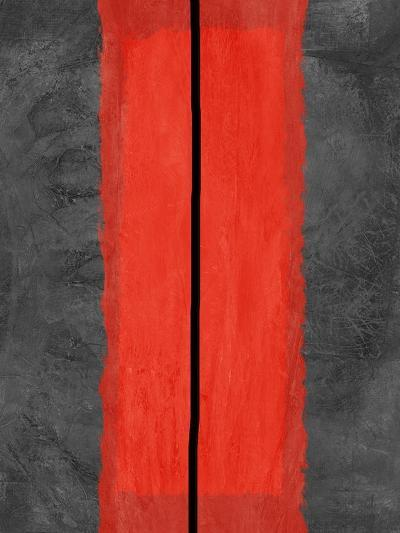 Grey and Red Abstract 5-NaxArt-Art Print