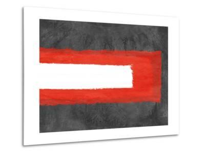 Grey and Red Abstract 6-NaxArt-Metal Print