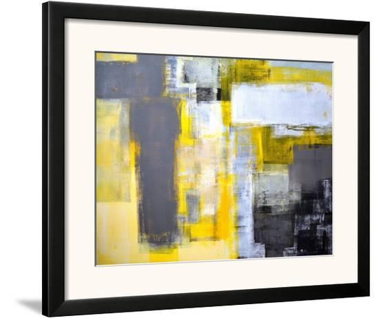 Grey And Yellow Abstract Art Painting Framed Art Print By T30gallery