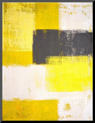Grey And Yellow Abstract Art Painting-T30Gallery-Mounted Print