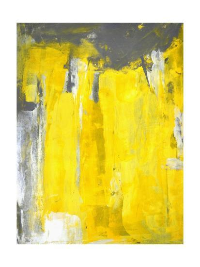 . Grey And Yellow Abstract Art Painting Art Print by T30Gallery   Art com