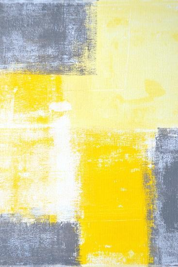 Grey And Yellow Abstract Art Painting-T30Gallery-Art Print