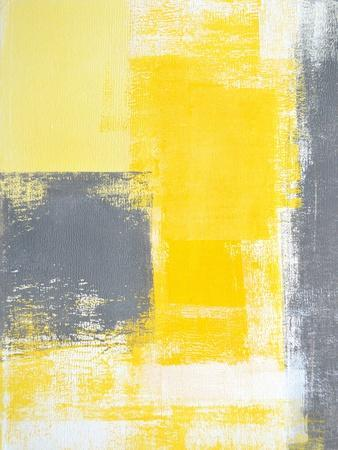 Grey And Yellow Abstract Art Painting-T30Gallery-Premium Giclee Print