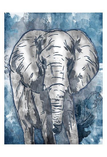 Grey Blue Elephant-OnRei-Art Print