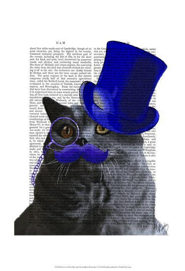 Grey Cat With Blue Top Hat and Blue Moustache-Fab Funky-Art Print