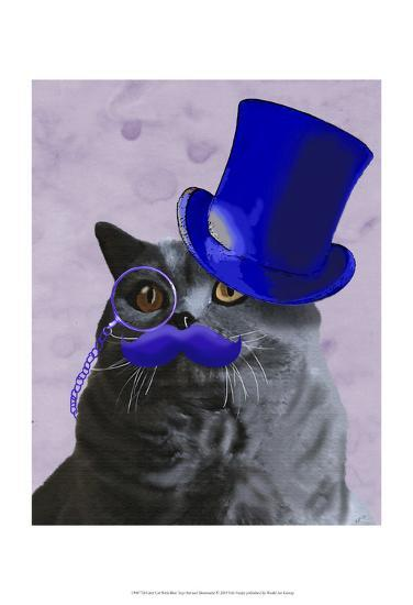 Grey Cat With Blue Top Hat and Moustache-Fab Funky-Art Print