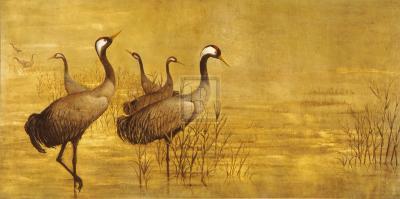 Grey Cranes-Helene Whitwell-Premium Giclee Print