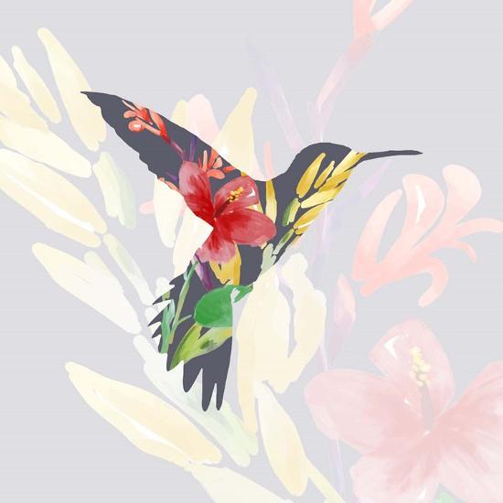 Grey Floral Hummingbird-Color Me Happy-Art Print