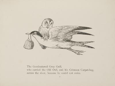 Grey Gull, Carrying Owl and Carpet Bag From a Collection Of Poems and Songs by Edward Lear-Edward Lear-Giclee Print