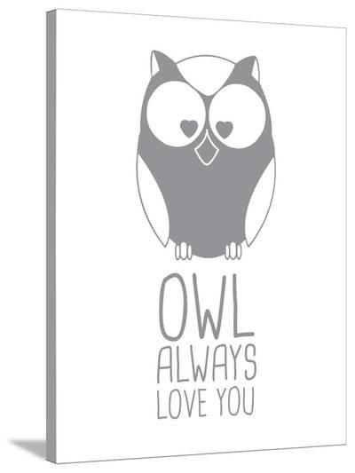 Grey Owl-Jetty Printables-Stretched Canvas Print