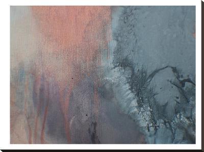 Grey & Peach Drips-Deb McNaughton-Stretched Canvas Print