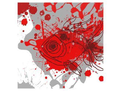 Grey-Red Fish-Irena Orlov-Art Print