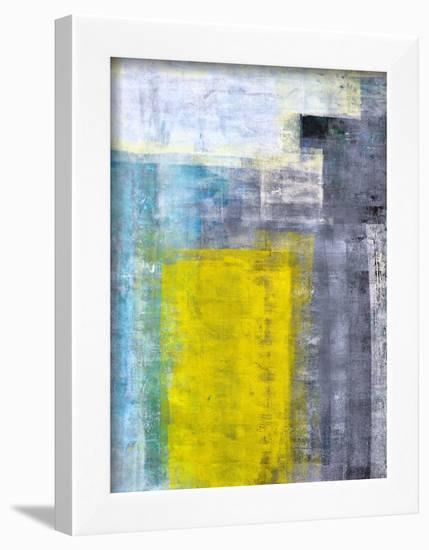 Grey, Teal And Yellow Abstract Art Painting-T30Gallery-Framed Art Print
