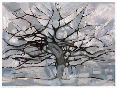 Grey Tree Abstract-Dorvard-Art Print