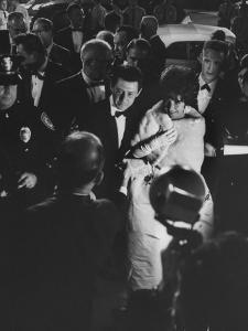 Actress Elizabeth Taylor in Crowd with Eddie Fisher by Grey Villet