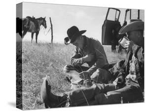 Cowboys on Long Cattle Drive from S. Dakota to Nebraska by Grey Villet