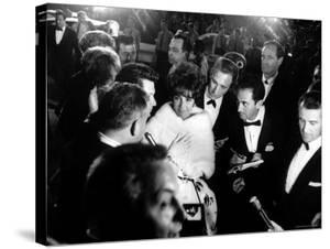Elizabeth Taylor, After Winning an Oscar, in Crowd with Husband, Eddie Fisher by Grey Villet