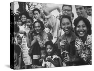 Manila Crowds Celebrate Philippines 15th Independence Anniversary During Douglas Macarthur's Visit by Grey Villet
