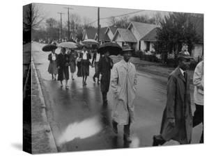 Pilgrimage Protest with Black Montgomery Citizens Walking to Work, in Wake of Rosa Parks Incident by Grey Villet