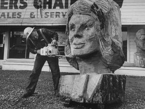 Portrait of Mrs. John Kennedy Made by Ken Kaiser with a Chain Saw by Grey Villet