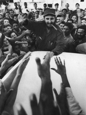 Rebel Leader Fidel Castro Being Cheered by a Village Crowd on His Victorious March to Havana