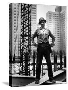 Structural Steel Worker Standing on a Girder by Grey Villet