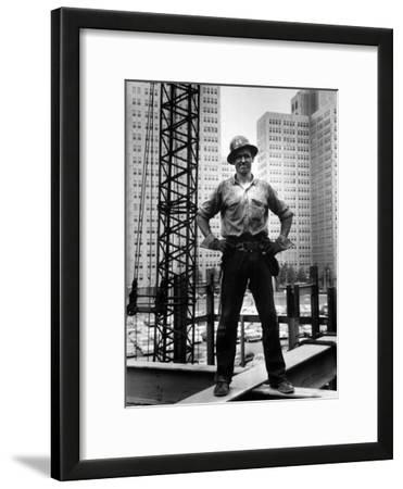Structural Steel Worker Standing on a Girder