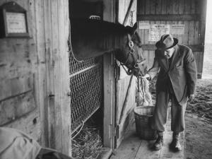 Trainer Jim Fitzsimons at Aqueduct Track Stables after William Woodward's Death in Stable by Grey Villet