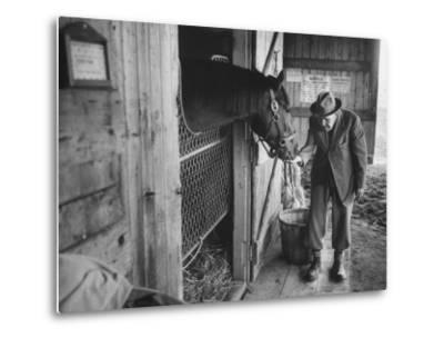 Trainer Jim Fitzsimons at Aqueduct Track Stables after William Woodward's Death in Stable