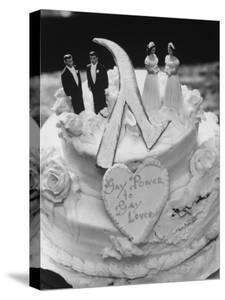 Wedding Cake Adorned with Homosexual Couples, Protesting New York City's Refusal to Wed Homosexuals by Grey Villet