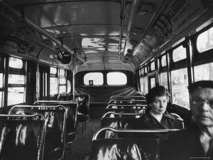 White Women Sitting Empty Bus During the Black Boycott of Bus Companies Throughout the City by Grey Villet