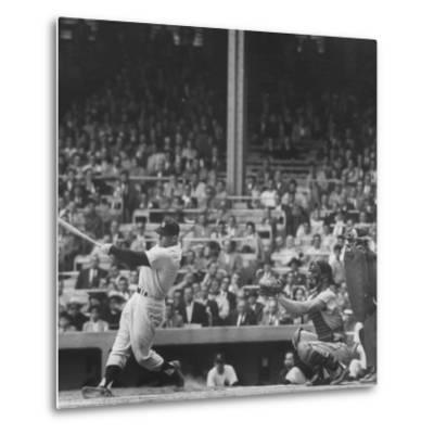 Yankee Mickey Mantle in Action, Swinging Bat with Catcher and Umpire Behind Him